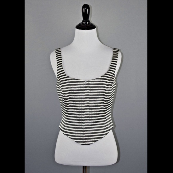 0423d101f2 Cache Textured Boned Cropped Corset Eve Tank Top